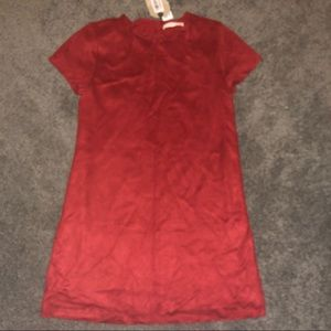 New ZARA GIRLS SUEDE RED BURGUNDY DRESS 13 14 M L